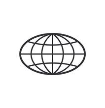 Globe Icon. World Symbol. Oval...