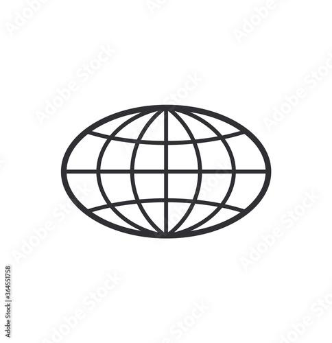 Obraz Globe Icon. World symbol. Oval globe. Icon world. Globe symbol. Earth sign. Logo template. Color easy to edit. Transparent background. - fototapety do salonu
