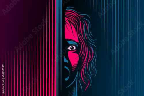Obraz Woman with open mouth, eyes. The emotion of fear, scared on face. Girl is in shock, dumbfounded, stupor, speechless. Victim of domestic violence, abuse. Vector illustration in retro noir comics style - fototapety do salonu