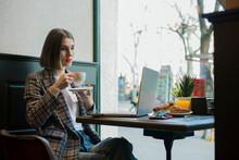 Thoughtful Female Freelancer T...