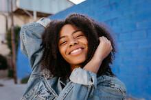 Young Black Female In Denim Ja...