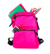 canvas print picture - Pink backpack full of school supplies isolated on a white background. Back to school concept.