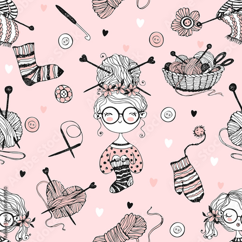 seamless-pattern-on-the-theme-of-knitting-with-cute-knitter-girls-in-doodle-style-vector