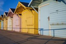A Line Of Beach Huts On Fleetwood Promenade.