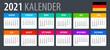 2021 Calendar - vector template graphic illustration - German version