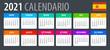 2021 Calendar - vector template graphic illustration - Spanish Version