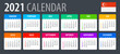 2021 Calendar - vector template graphic illustration - Singaporean version