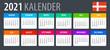 2021 Calendar - vector template graphic illustration - Denmark version