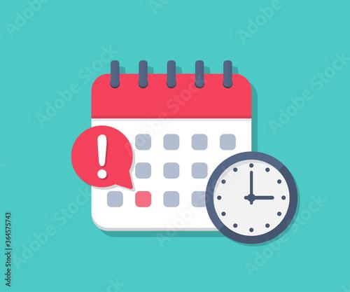 Obraz Calendar deadline with clock in a flat design - fototapety do salonu