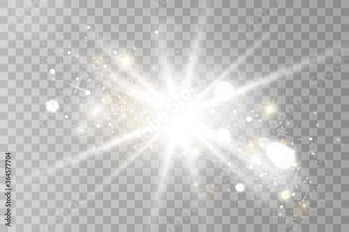 Obraz Glow light effect. Star burst with sparkles.Sun. Vector illustration - fototapety do salonu