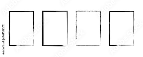 Grunge frame. Vector isolated mockup border templates. Vector black paint. Abstract graphic design. Grunge frame set. Stock vector.