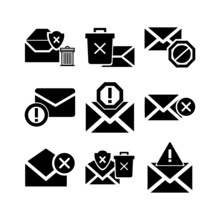 Junk Email Icon Or Logo Isolated Sign Symbol Vector Illustration - High-quality Black Style Vector Icons