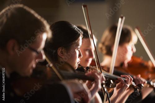 Billede på lærred Violinists performing