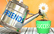 canvas print picture - Friends helps achieving success - pictured as word Friends on a watering can to symbolize that Friends makes success grow and it is essential for profit in life and business, 3d illustration