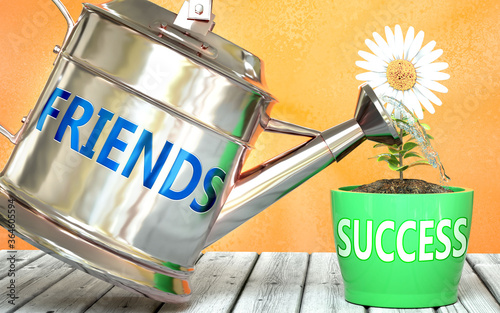 Fototapeta Friends helps achieving success - pictured as word Friends on a watering can to