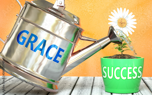 Grace helps achieving success - pictured as word Grace on a watering can to symb Fototapet