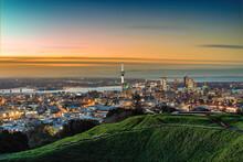 Auckland Skyline Sunset Mount Eden Summit New Zealand