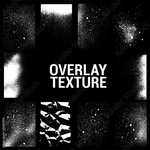 Fototapeta Texture overlays collection. Apply textures to your background to create - dirty grainy stamp, scratches, damage marks, grunge splashes. Dirty ink stamp, urban grunge texture. Vector set obraz