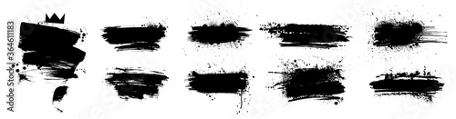 Liquid paintbrush set. Isolated black ink stains and brush marks with dirty stains. Grunge silhouette brushstroke with drops blots. Set Vector brush paint. Boxes with spray graffiti and frame for text