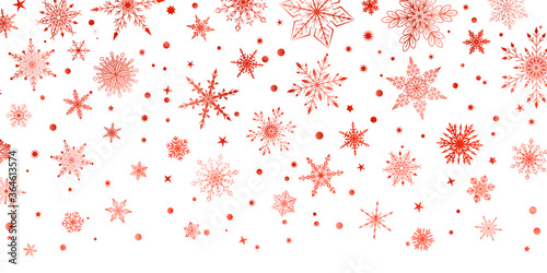 Fototapeta Christmas background with various complex big and small snowflakes, red on white obraz na płótnie