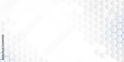 Fotografija Abstract embossed hexagon, honeycomb white background