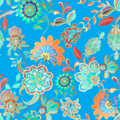 Fototapeta na wymiar Watercolor seamless pattern with flowers and leaves in ethnic style. Floral decoration. Traditional paisley pattern. Textile design texture.Tribal ethnic vintage seamless pattern.