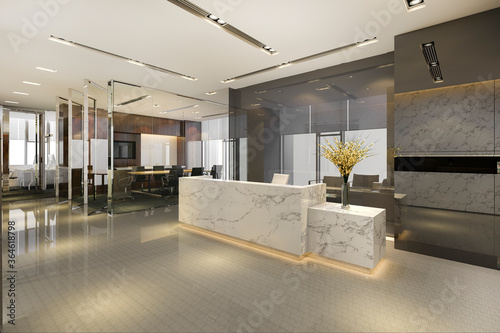 Fototapeta 3d rendering modern luxury hotel and office reception and lounge with meeting ro