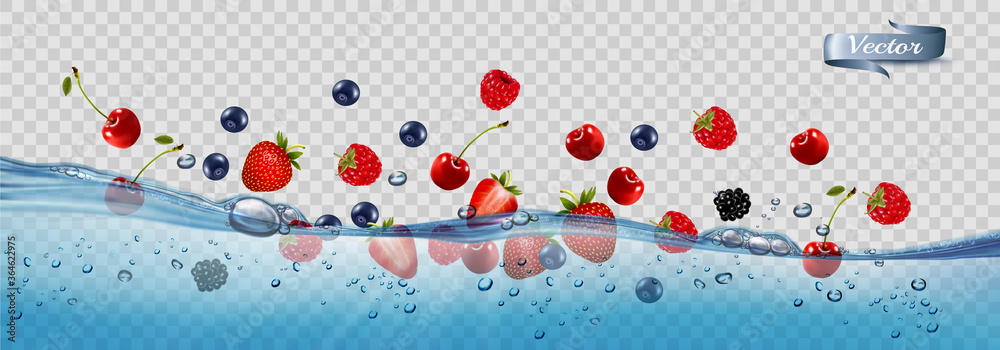 Fototapeta Fresh fruits and berries splashing in water waves with air bubbles and sunbeams. 3d realistic high quality Vector.