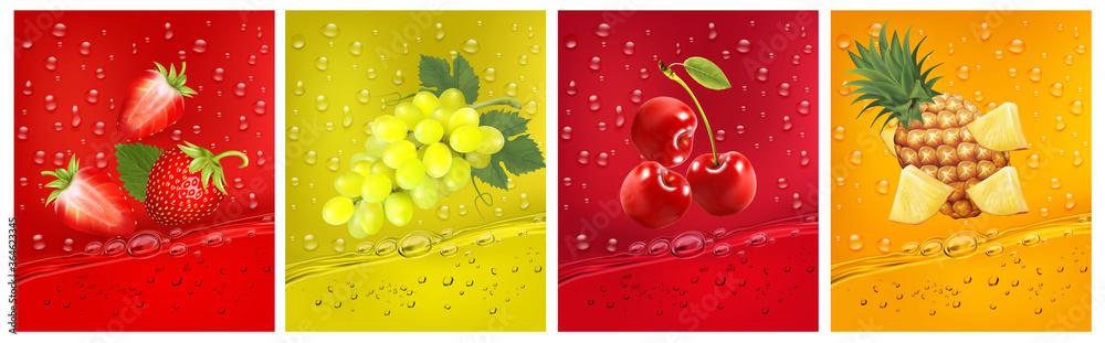 Fototapeta 3d fresh fruits. Fresh fruits juice splashing together- pineapple, strawberry, cherry juice drink splashing. Vector illustration