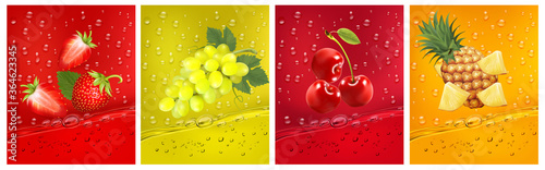 3d fresh fruits. Fresh fruits juice splashing together- pineapple, strawberry, cherry juice drink splashing. Vector illustration
