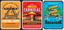 Amusement Park Carousels, Viking Ship And Water Slides, Aquapark Vector Retro Posters. Funfair Carnival Rides And Attractions, Family Amusement Park Roller Coaster Ferris Wheel And Carousels
