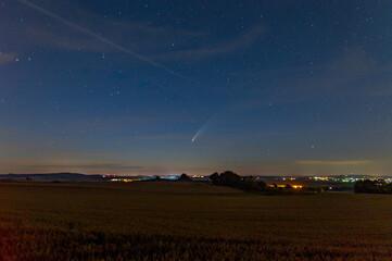 Comet Neowise passing Nördlingen in Bavaria
