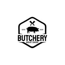 Butcher Shop Logo Vector Illu...