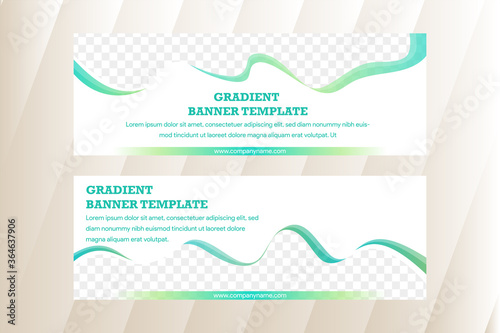 Fototapeta Set of abstract web banner templates with abstract lines and waves.  green gradient element as border of photo space on top and bottom side.  obraz