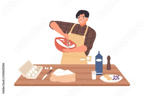 Happy guy in apron mixing ingredients preparing dough in bowl vector flat illustration Fototapete