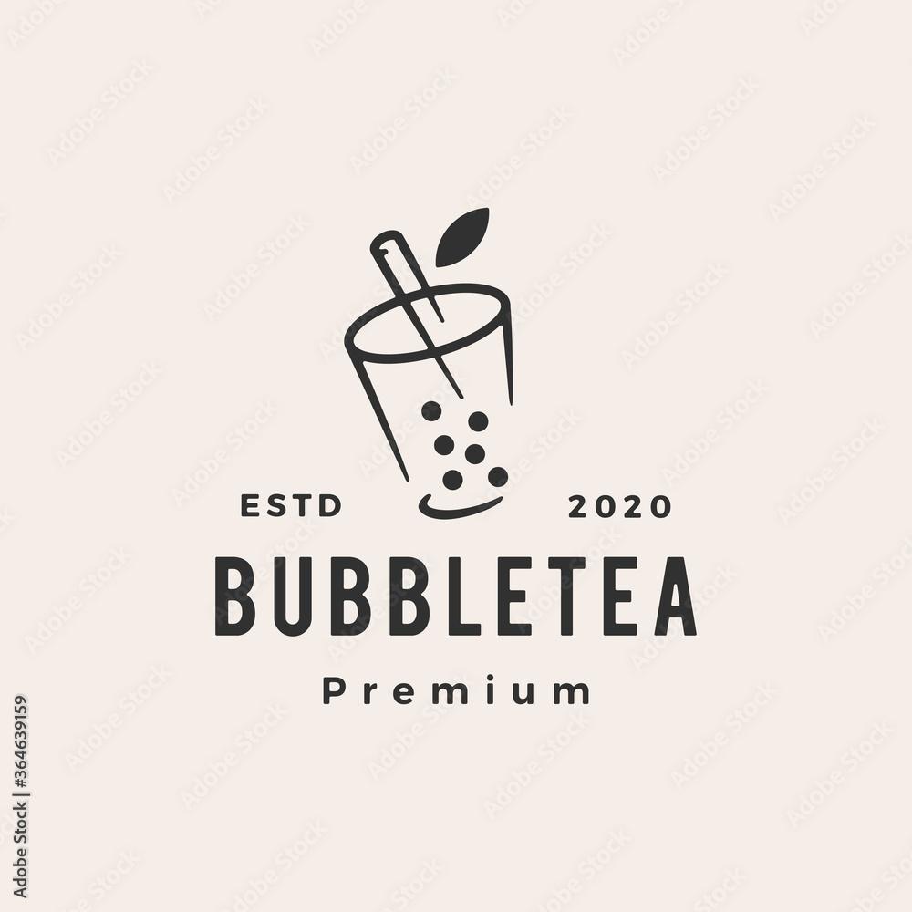 Fototapeta bubble tea hipster vintage logo vector icon illustration