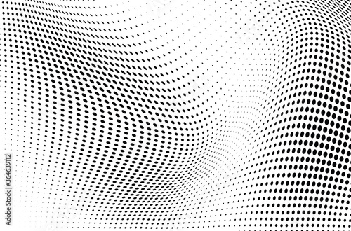 Stampa su Tela The halftone texture is monochrome. Vector chaotic background