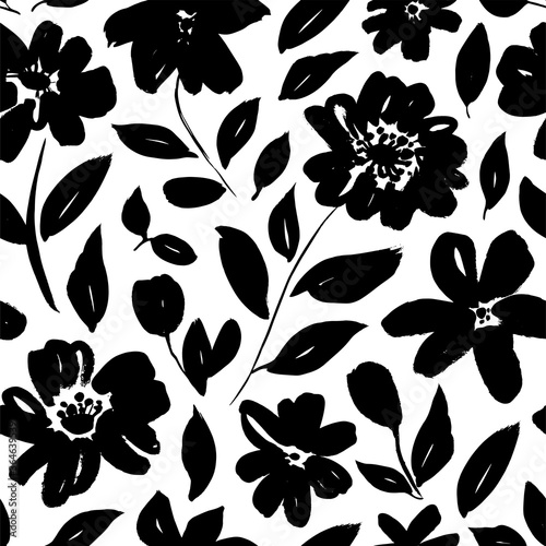 Seamless floral vector pattern with peonies, roses, anemones Canvas Print