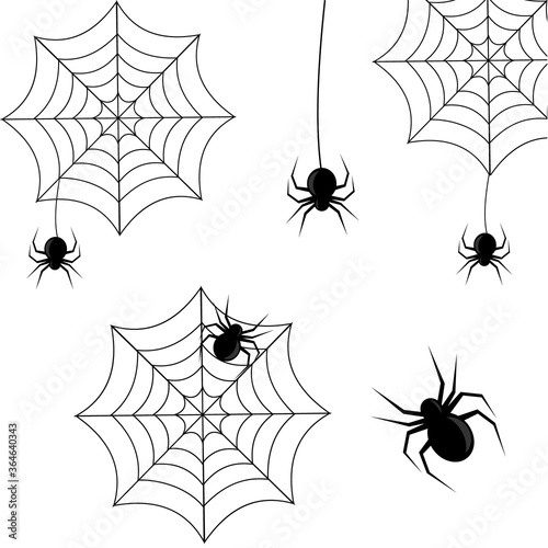 Photo set of spiders on a web in black on a white background for Halloween, vector ill