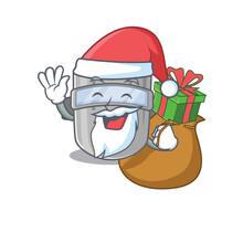 Cartoon Design Of Welding Mask Santa Having Christmas Gift