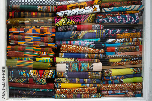Valokuva Traditional design fabrics and African colors.