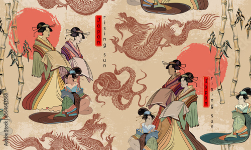 Japanese culture seamless pattern Fototapet
