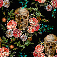 Embroidery Skull And Roses Sea...
