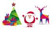 Święty Mikołaj, choinka, prezenty i renifer. Bożonarodzeniowa kartka z życzeniami wektor.