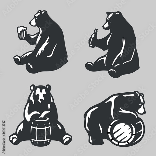 Set bear with wood barrel of beer or honey