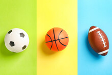 Sports Balls On Color Background