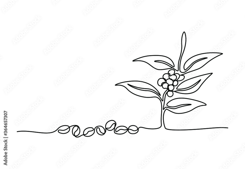 Fototapeta One continuous line drawing of coffee beans and leaves for plantation logo identity. Coffee leaf icon, cafe shop concept. Modern single line draw design vector illustration