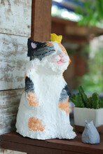 Sculpture Lovely Colourful Cat, Made From Papier Mache