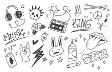 Set Of Graffiti Doodle, Punk Music Hand Drawn Scribble