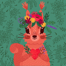 Cute Red Squirrel In A Flower Wreath Holds A Heart In Its Paws. Vector Illustration In Cartoon Style. Declaration Of Love And Greeting Card